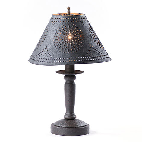 BUTCHER'S BEDSIDE TABLE LAMP with Punched Tin Shade - 5 Distressed Textured Finishes