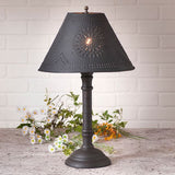 WOOD and PUNCHED TIN TABLE LAMP in 5 Heavily Distressed Crackle Finishes