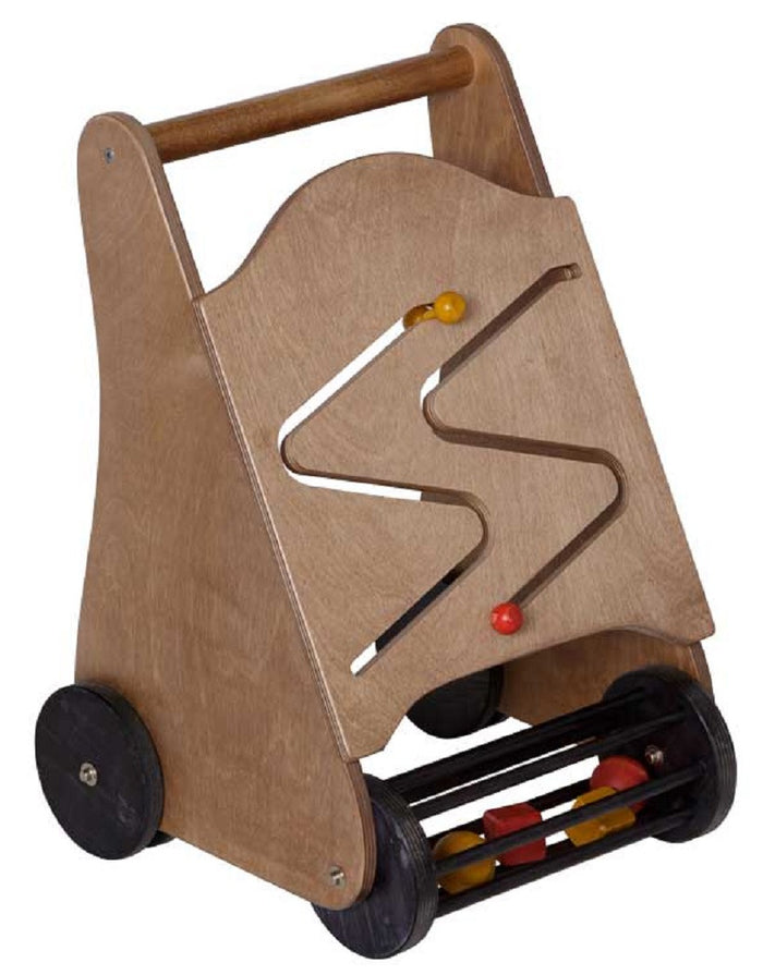 PUSH WALKER - Fine Wood Block Roller Toddler Toy with Hands-On Activity