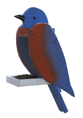 EASTERN BLUEBIRD BIRD FEEDER - Large Solid Wood Feeders Handmade in USA
