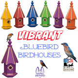 BLUEBIRD BIRDHOUSE - 6 Vibrant Colors with Copper Trim & Accents