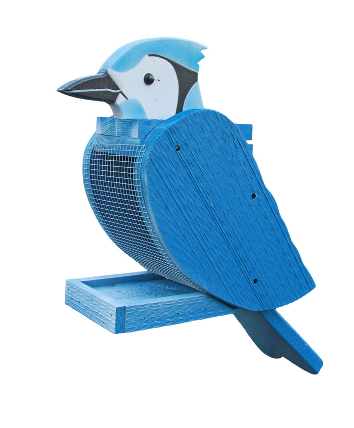 BLUE JAY BIRD FEEDER - Large Amish Handmade Blue Jays Seed Feeder