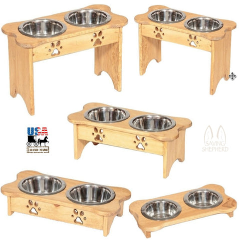 DOG BONE SHAPE WOOD FEEDER Handmade Elevated Stand with Paw Print Bowls - Finished Pine