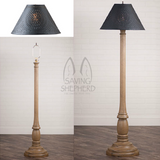 "WOODSPUN COLONIAL FLOOR LAMP ~ ""Americana Pearwood"" Textured Finish with Punched Tin Shade"