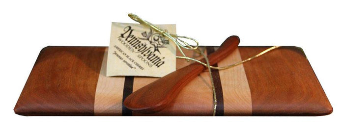 BUTTER CHEESE BOARD & KNIFE SET - Cherry Maple and Walnut Grown & Handmade in PA USA