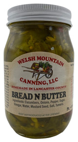 BREAD & BUTTER PICKLES - 16 & 32 oz Jars Amish Homemade in Lancaster USA