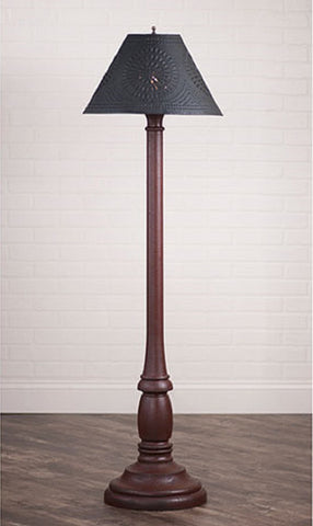 "WOODSPUN COLONIAL FLOOR LAMP ~ ""Americana Red"" Textured Finish with Punched Tin Shade"