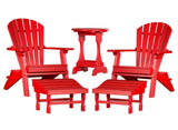 5 PIECE COMPLETE OUTDOOR PATIO SET - 2 Folding Adirondack Chairs, 2 Ottomans & Candy Table in 19 Colors