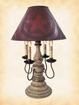 CRACKLED BUTTERMILK & RED LAMP - Wood & Wrought Iron with Punched Tin Willow Shade USA