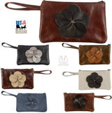 LEATHER FLOWER CLUTCH - Amish Handmade in USA - 10 COLORS