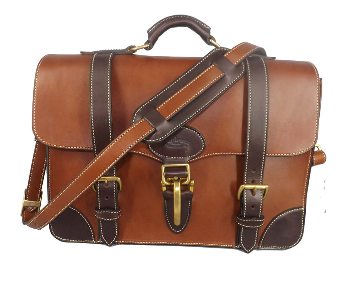 EXECUTIVE LEATHER BRIEFCASE & MESSENGER BAG in ONE ~ Amish Handmade in U.S.A.