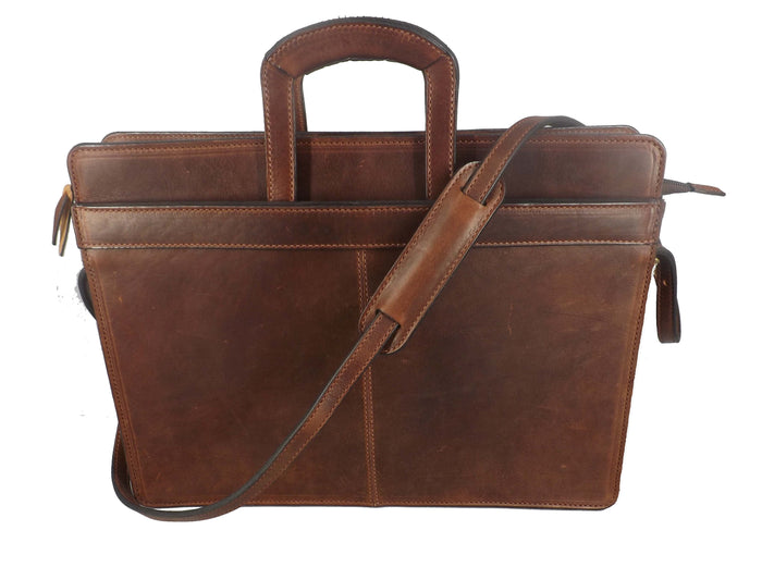 LEATHER BRIEFCASE & MESSENGER BAG ~ Adjustable Shoulder Strap Retractable Handles & More
