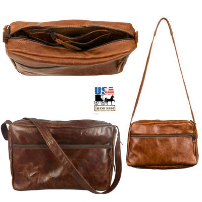 """PARKWAY"" LEATHER SHOULDER BAG & HAND PURSE ✯ Amish Handmade in USA"