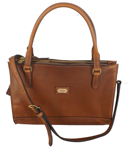 """MANHATTAN"" LEATHER CROSSBODY SHOULDER BAG & DOUBLE HANDLE PURSE ✯ Amish Handmade in USA"
