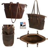 """COLUMBIAN"" LEATHER SHOULDER TOTE BAG & PURSE ✯ Amish Handmade in USA"