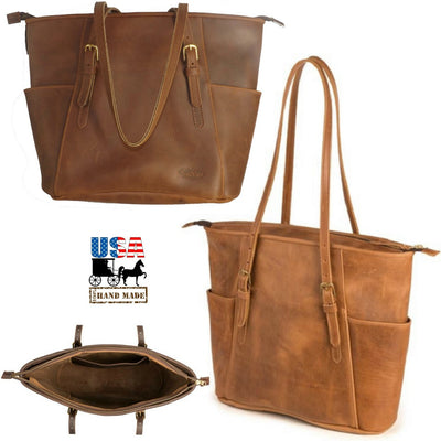 "LARGE ""COLUMBIAN"" LEATHER SHOULDER TOTE BAG & PURSE ✯ Amish Handmade in USA"