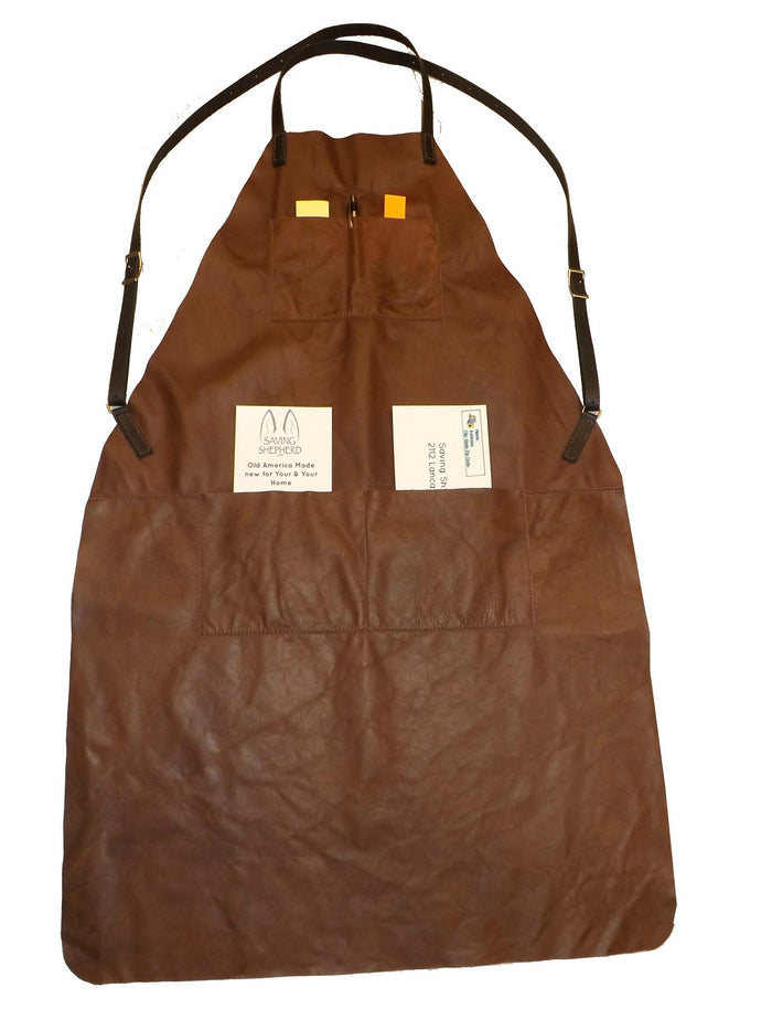 DELUXE APRON ~ Soft Leather Adjustable w/ 4 Chest & Waist Pockets