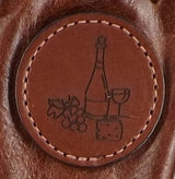 LEATHER WINE BAG ~ Amish Handmade 2 Tone Soft Cowhide with Cinch Top