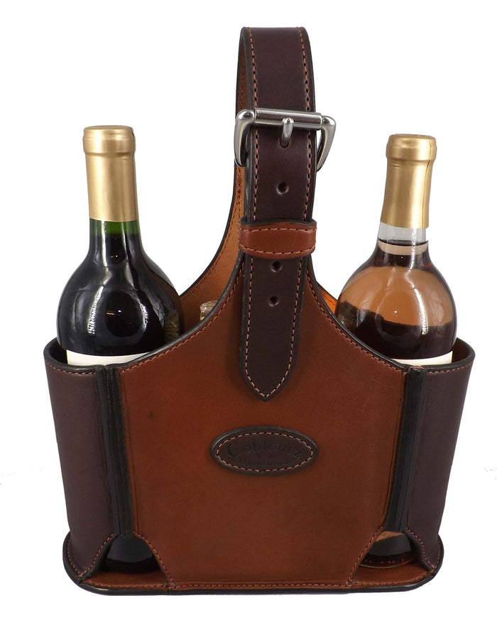 LEATHER WINE CARRIER ~ Made for 2 Bottles + Cheese & Crackers ~ 4 Styles