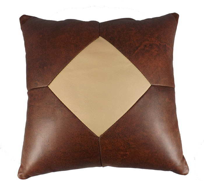 AMISH LEATHER QUILT PILLOW - 15