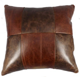 "AMISH LEATHER QUILT PILLOW - 15"" Handmade in 5, 6 or 9 Patch Design"
