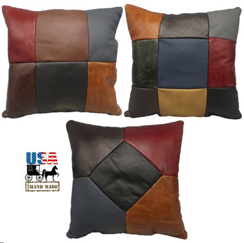 AMISH MULTICOLOR LEATHER QUILT PILLOW - 15