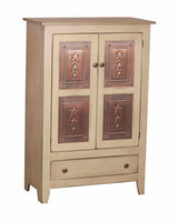 PIE SAFE with PUNCHED TIN PANELS - Country Kitchen Cupboard with Drawer