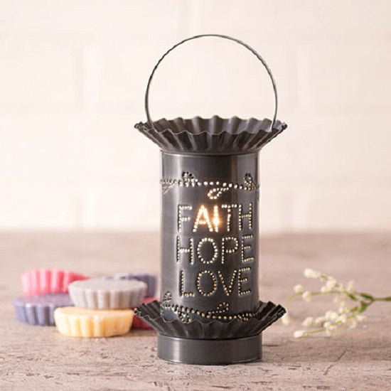 PUNCHED TIN WAX TART WARMER Handmade FAITH HOPE LOVE Pattern Electric Accent Light