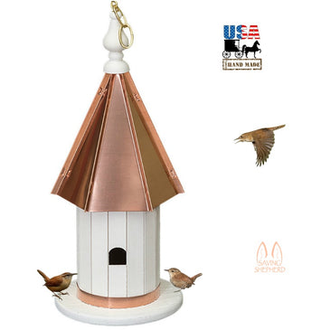 Hanging Wren Birdhouse - Copper Steeple Roof & Trim Bird House