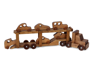 CAR CARRIER WOOD TOY - Amish Handmade Tractor Trailer Truck with 6 Cars