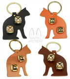 DOOR CHIME - LEATHER CAT with SLEIGH BELLS in 4 Colors - Amish Handmade in USA