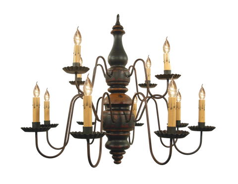 "2 TIER 12 CANDLE ""CHARLESTON"" WOOD CHANDELIER - Handmade Colonial Light in 20 Finishes"