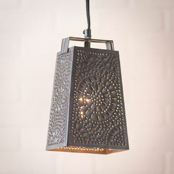 CHEESE GRATER Kitchen Pendant Light - Classic Punched Chisel Pattern Tin