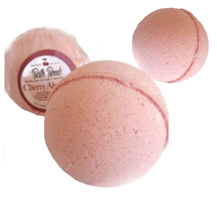 Cherry Almond BATH BOMB 3 Pack All Natural Handmade for Smooth Silky Skin