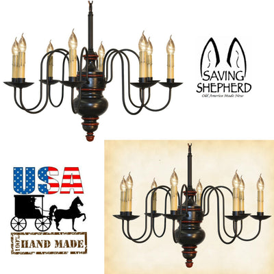 """CHESAPEAKE"" 8 ARM WOOD CHANDELIER - Large Handmade Colonial Light in 20 Finishes"