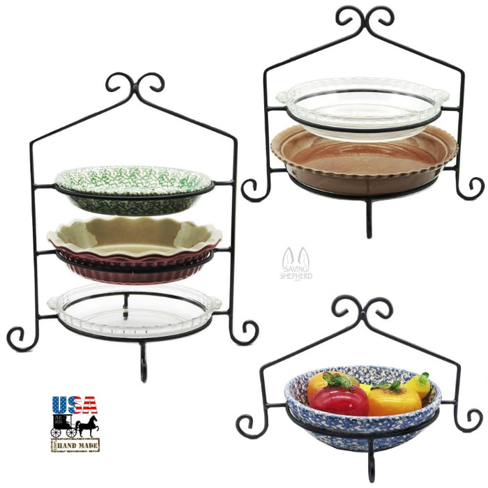 IRON PIE RACK SET - Single Double & Triple Tier Stands USA