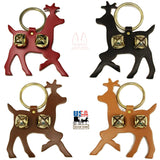 LEATHER REINDEER DOOR CHIME - BUCK with BRASS SLEIGH BELLS - Amish Handmade in USA