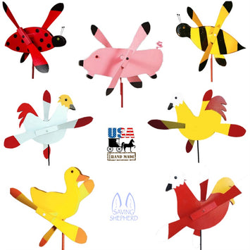 FARM ANIMALS & INSECTS WIND SPINNER - Rooster Pig Chicken Ladybug Bee Duck Whirligigs