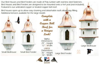 "36"" COPPER BELL TOP BIRD FEEDER - Huge Weatherproof Vinyl Body & Genuine Copper"