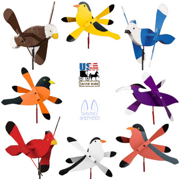 WHIRLY BIRDS WIND SPINNER - Eagle Oriole Cardinal Robin Goldfinch Chickadee