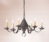 "27 Inch ""CONCORD"" CHANDELIER - 6 Arm Punched Tin Candelabra USA"