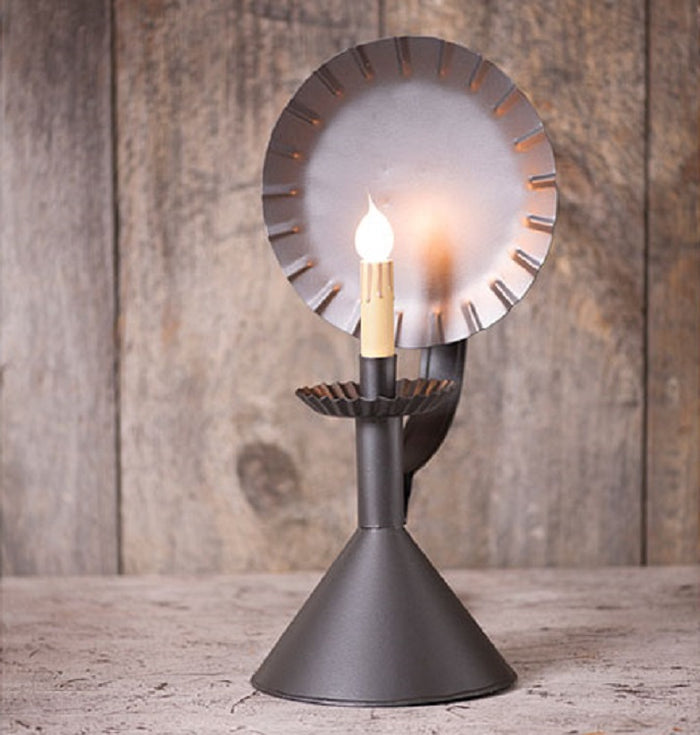 COLONIAL CONE CABIN LAMP - Crimped Tin Accent Light in Smokey Black Finish
