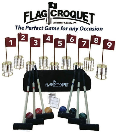 GOLF CROQUET SET & CADDY 6 Player Unique Disc Flag Lawn Game USA
