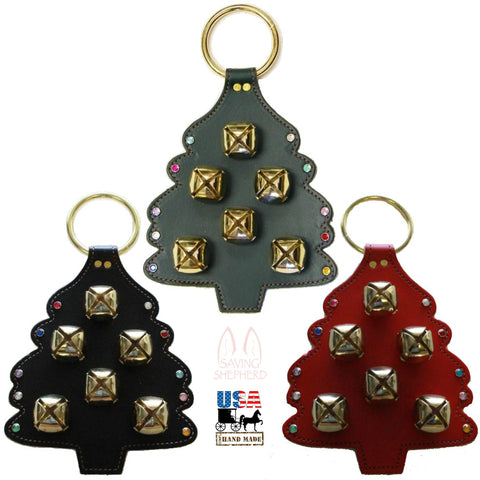 CHRISTMAS TREE LEATHER DOOR CHIME with STITCHING SLEIGH BELLS & CRYSTAL ORNAMENTS - Amish Handmade in USA
