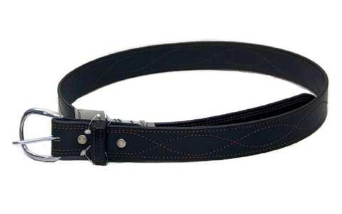 "AMISH CURVE STITCH 1½"" BELT - Black Leather Handmade in All Sizes USA"