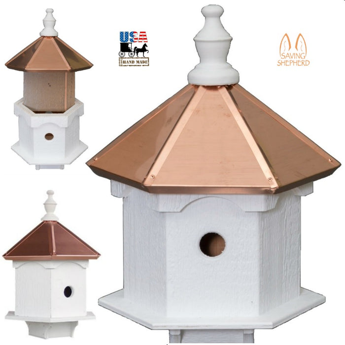 DOUBLE BLUEBIRD HOUSE - 2 Room Copper Top Birdhouse