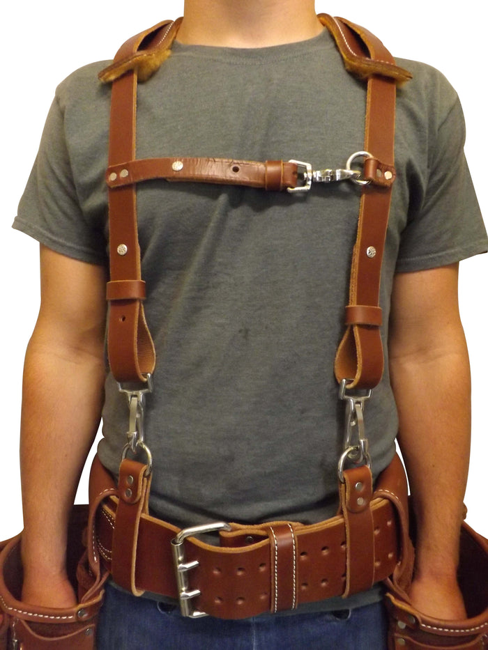 LEATHER WORK SUSPENDERS - Construction Belt Support USA HANDMADE