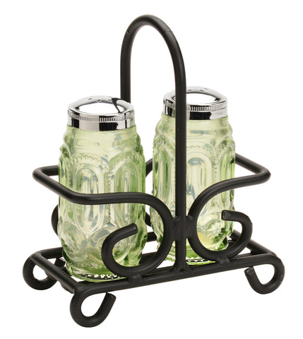 SALT & PEPPER HOLDER - Wrought Iron Table Rack in Satin Black USA HANDMADE