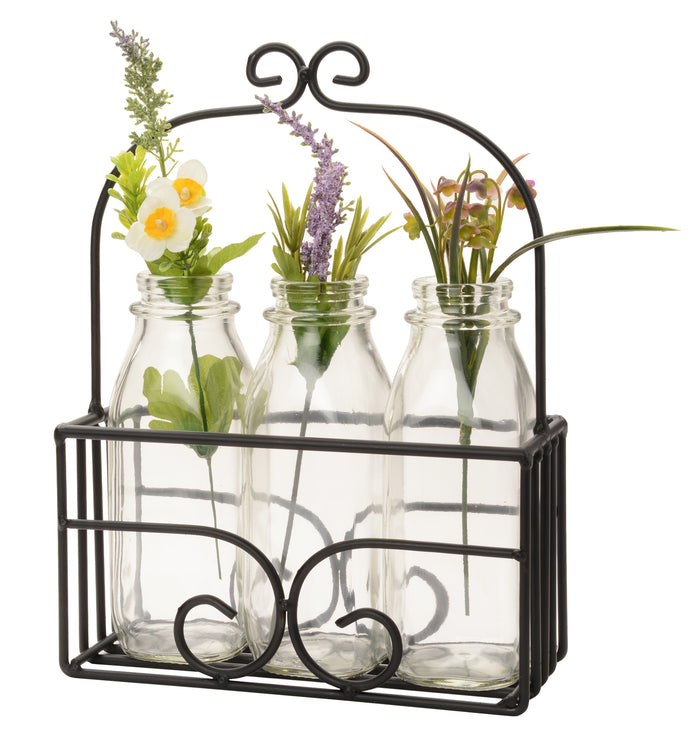 MILK BOTTLE DECOR BASKET- Scrolled Wrought Iron Display Stand in Satin Black