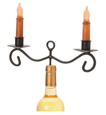WINE BOTTLE TOPPER CANDLESTICK HOLDER Wrought Iron 2 Dinner Candle Stand ♦ USA